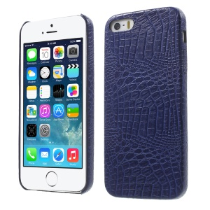 Croco Skin Leather Coated Hard PC Case for iPhone SE 5s 5 - Blue
