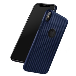HOCO Delicate Shadow Series Carbon Fiber Texture Ultra-thin TPU Phone Cover for iPhone XS Max 6.5 inch - Dark Blue