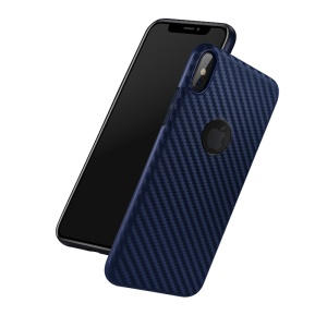HOCO Delicate Shadow Series Case Carbon Fiber Texture TPU Case for iPhone XS/X 5.8 inch - Dark Blue