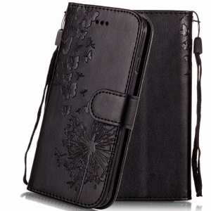 Imprint Vivid Flower Wallet Stand Magnetic Leather Case for iPhone XS Max 6.5 inch - Black