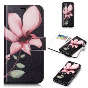 Patterned Detachable 2-in-1 [Wallet] Leather Mobile Cover for iPhone XS Max 6.5 inch - Pink Blossom