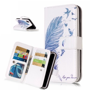 Magnetic Wallet Stand PU Leather Protective Case with 9 Card Slots for iPhone XS Max 6.5 inch - Feather and Birds