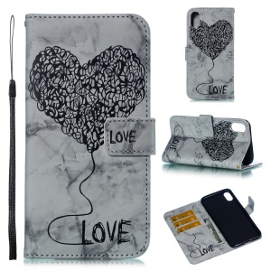 For iPhone XS Max 6.5 inch Flip Case Imprinted Lover Heart Marble Pattern Stand Wallet Wallet Cover - Black