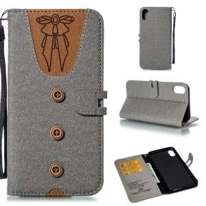 For iPhone XS Max 6.5 inch Cover [Imprint Women Bow-tie] [Button Decor] [Strap] Splicing Leather Wallet Cover - Grey