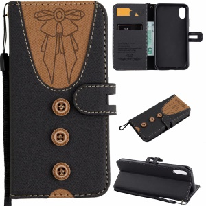 For iPhone XS / X 5.8 inch Splicing Imprint Women Bow-tie Leather Wallet Stand Mobile Phone Cover Case with Strap - Black
