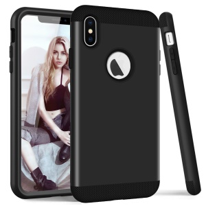 For iPhone XS Max 6.5 inch Protection Case (3-piece) (PC+Silicone) (Shockproof) - Black