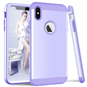 For iPhone XS Max 6.5 inch Phone Casing (3-piece) (PC+Silicone) (Shockproof) - Light Purple