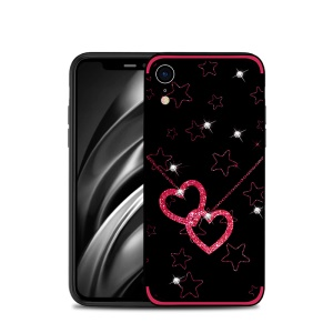 NXE Rhinestone Decor Pattern Bayer TPU Mobile Case for iPhone XR 6.1 inch - Heart and Star Pattern