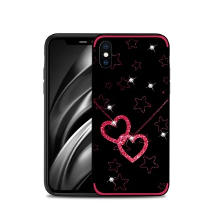 NXE Rhinestone Decor Pattern Bayer TPU Case for iPhone XS Max 6.5 inch - Heart and Star Pattern
