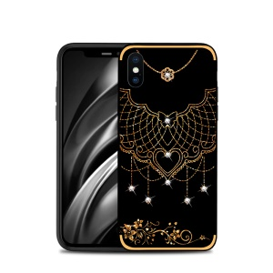 NXE Rhinestone Decor Pattern Bayer TPU Mobile Casing for iPhone XS Max 6.5 inch - Tribal Mesh Pattern
