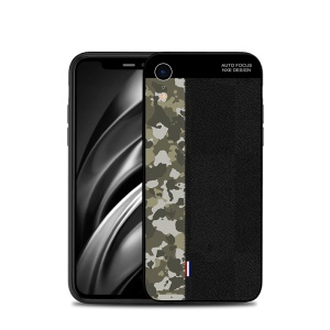 NXE Camouflage Pattern Splicing TPU Case for iPhone XR 6.1 inch - Army Green Camouflage / Black