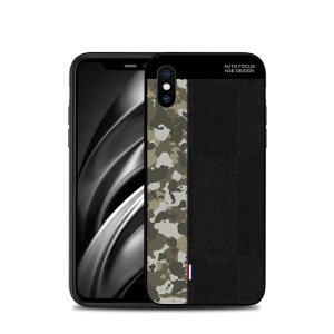 NXE Camouflage Pattern Splicing TPU Case for iPhone XS Max 6.5 inch - Army Green Camouflage / Black