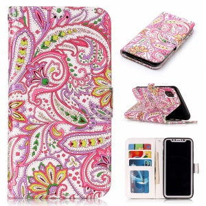 Embossed Pattern Printing Leather Wallet Case for iPhone XS Max 6.5 inch - Colorful Flower