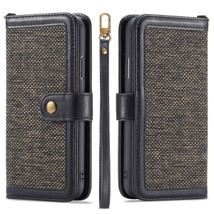 Detachable 2 in 1 Leather + Cloth Wallet Casing + TPU Back Phone Case for iPhone XR 6.1 inch - Black