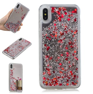 Glitter Floating Quicksand Mirror Surface TPU Mobile Case for iPhone XS Max 6.5 inch - Silver