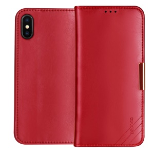 DZGOGO SS Genuine Leather Wallet Stand Cover for iPhone XS 5.8 inch - Red