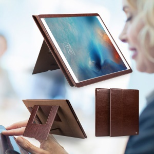 QIALINO Smart Genuine Leather Cover Stand for iPad Pro 12.9 inch - Brown