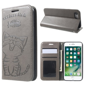 Imprint Cat and Fish Bone Wallet Leather Phone Case for iPhone 8 / 7 - Grey