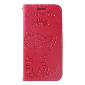 Imprint Cat and Fish Bone Stand Leather Phone Cover for iPhone 8 / 7 - Rose