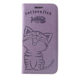 Imprint Cat and Fish Bone Wallet Leather Protector Cover for iPhone SE (2nd generation)/8/7 - Purple