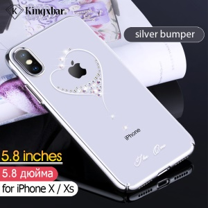 KINGXBAR Wish Series Authorized Swarovski Plated PC Phone Cover for iPhone XS 5.8 inch - Silver Bumper