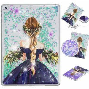 Glitter Powder Quicksand Embossed PC + TPU Hybrid Cellphone Cover for iPad 9.7-inch (2018)/9.7-inch (2017)/Air 2/Air - Girl and Garland