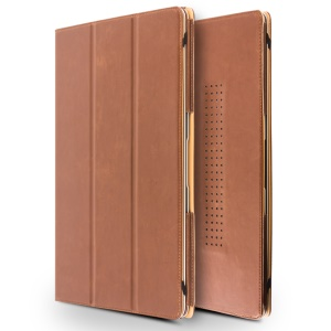 QIALINO PU Leather Tri-fold Folio Case for MacBook Air 13.3-inch - Brown