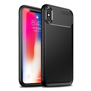 TPU Case for iPhone X/XS 5.8 inch Beetle Series Carbon Fiber TPU Protection Mobile Phone Cover - Black