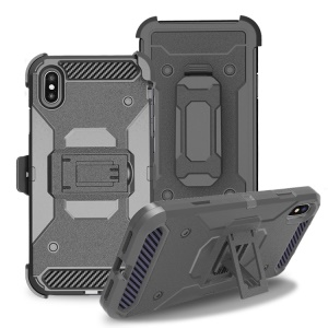Carbon Fiber Belt Clip Kickstand PC TPU Hybrid Holster Case for iPhone XS Max 6.5 inch