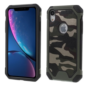 For iPhone XR 6.1 inch Camouflage Leather Coated PC TPU Shockproof Phone Case - Green