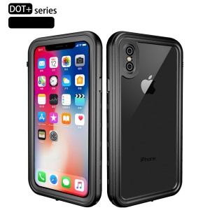 REDPEPPER Dot+ Series Transparent Back Dustproof Snowproof IP68 Waterproof Case for iPhone XS Max 6.5 inch - All Black