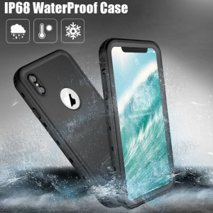 REDPEPPER Dot+ Series Dustproof Snowproof IP68 Waterproof Case with Kickstand for iPhone XS Max 6.5 inch - All Black