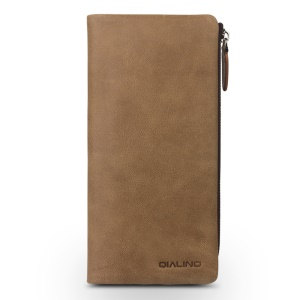 QIALINO Wallet Cowhide Genuine Leather Pouch Shell for iPhone XS Max 6.5 inch / iPhone XR 6.1 inch / iPhone XS 5.8 inch - Khaki