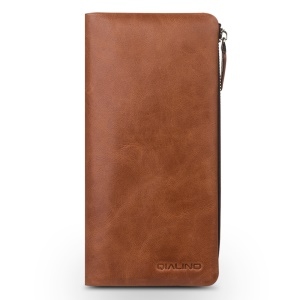 QIALINO Wallet Cowhide Genuine Leather Pouch Casing for iPhone XS Max 6.5 inch / iPhone XR 6.1 inch / iPhone XS 5.8 inch - Brown