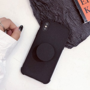 Plush Paint Shockproof TPU Case with Kickstand for iPhone XS / X 5.8 inch - Black