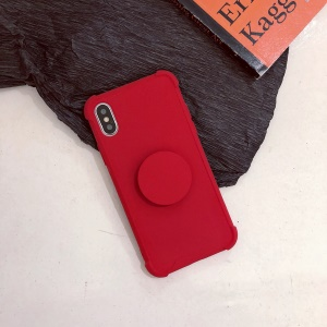 Plush Paint Shockproof TPU Shell with Kickstand for iPhone XS Max 6.5 inch - Red