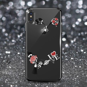 KAVARO Swarovski Rhinestone Electroplating PC Hard Case for iPhone XS Max 6.5 inch - Rose