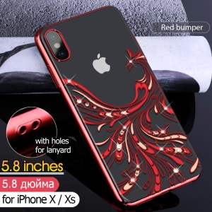 KAVARO Crystals Decor Electroplated Phoenix Pattern Plastic Hard Case for iPhone XS 5.8 inch - Red