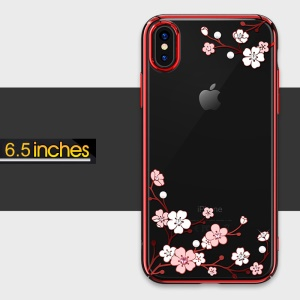 KINGXBAR Love of Flower Plated PC Phone Shell for iPhone XS Max 6.5 inch with [Authorized Swarovski Crystals] - Red
