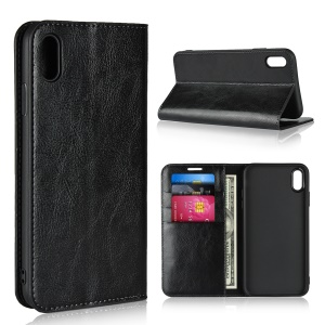 For iPhone XS Max 6.5 inch Crazy Horse Genuine Leather Wallet Case with Stand - Black