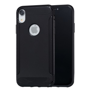 Carbon Fiber Texture Soft TPU Phone Protection Case for iPhone XR 6.1 inch - Black