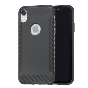 Carbon Fiber Texture Soft TPU Phone Protection Cover for iPhone XR 6.1 inch - Grey