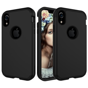Detachable Hybrid 3-in-1 Shock Absorption Full-body Protective Case Cover for iPhone XR 6.1 inch - Black