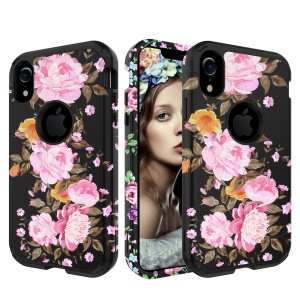 Pattern Printing Detachable 3-in-1 Shock Absorption Shell Armor Case PC TPU Hybrid Cover for iPhone XR 6.1 inch - Pink and Orange Flowers
