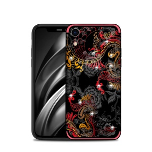 NXE TPU Case for iPhone XR 6.1 inch (Rhinestone Decor) (Embossment Phoenix Pattern) - Red