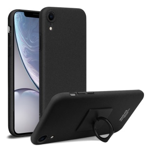 IMAK Ring Holder Kickstand Matte Hard PC Phone Case + Screen Protector for iPhone XR 6.1 inch - Black