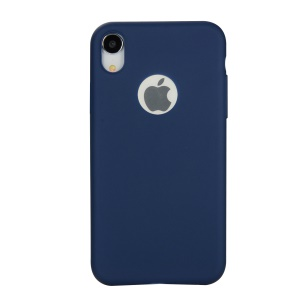 Solid Color Candy TPU Phone Case with Apple Logo Cutout for iPhone XR 6.1 inch - Dark Blue