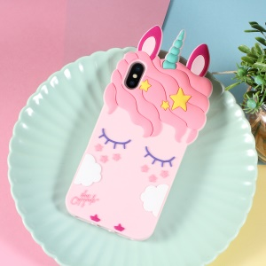 3D Unicorn Pattern Silicone Back Case for iPhone XS/X