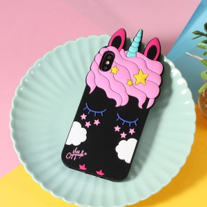 3D Unicorn Pattern Silicone Back Cover for iPhone XS/X - Black
