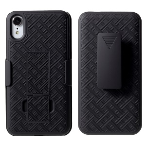 Grid Pattern Plastic Belt Clip Kickstand Holster Phone Shell for iPhone XR 6.1 inch - Black
